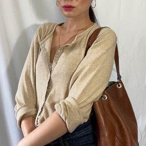 Womens Liz Claiborne beige cardigan size small